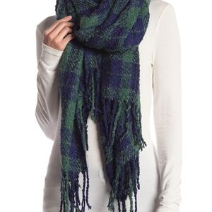 Free People Emerson Green & Navy Plaid Scarf NEW!
